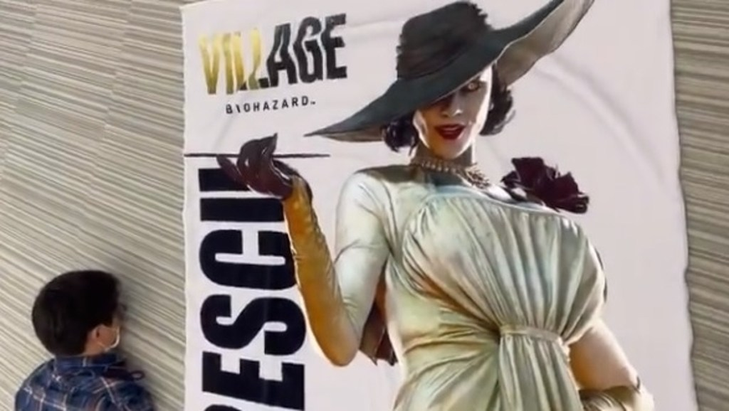 Capcom made a life-sized towel of Lady Dimitrescu to promote Resident Evil Village in Japan • Eurogamer.net