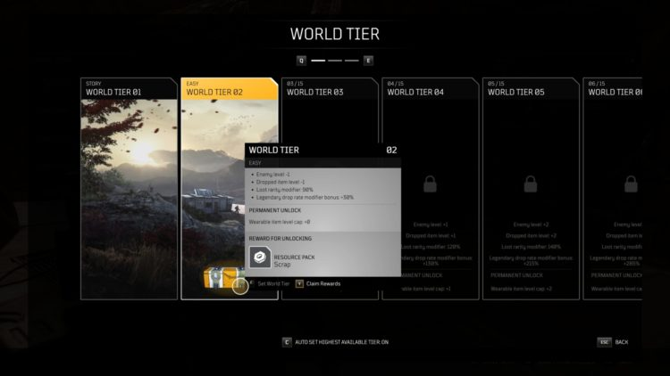 Outriders World Tier Difficulty Leveling Farming Loot Guide 1