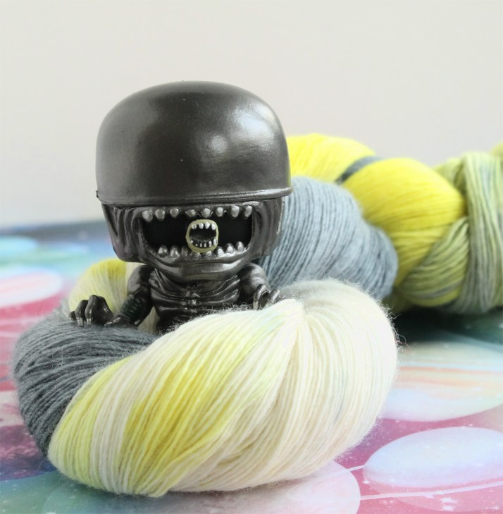 Alien themed hand dyed yarn