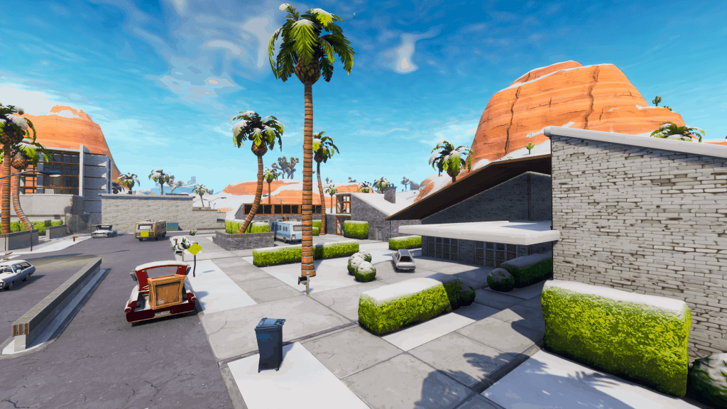 Houses and road in Paradise Palms, Fortnite season 7