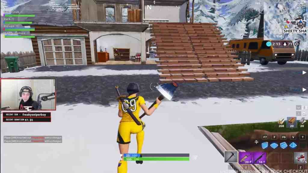 Stretched resolution used by Faze Cloak in Fortnite