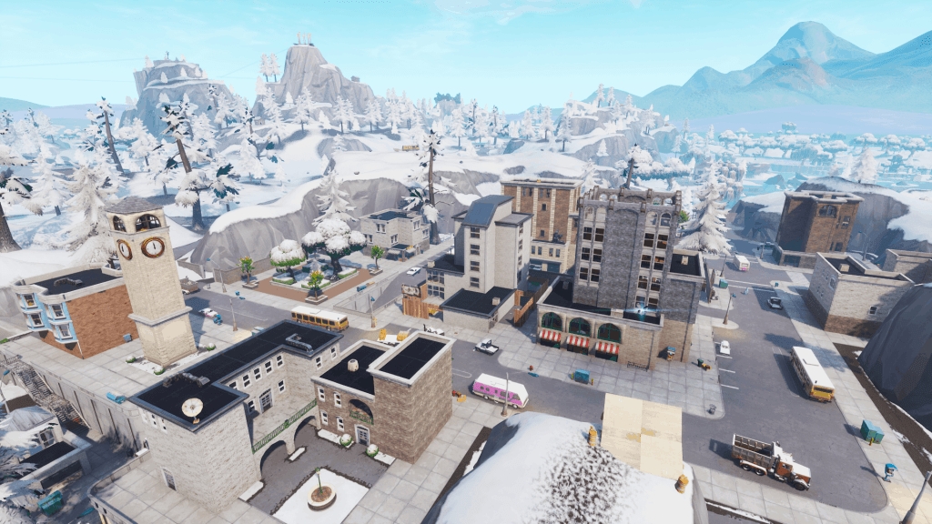 Tilted Towers from above, Fortnite season 7