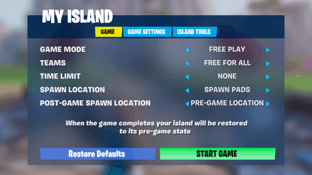 turn off flying by starting game in creative Fortnite