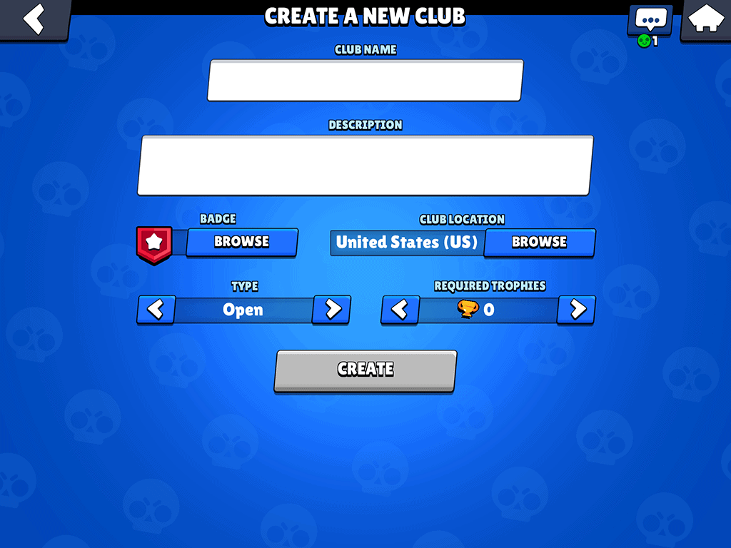 Create a new club page in Brawl Stars