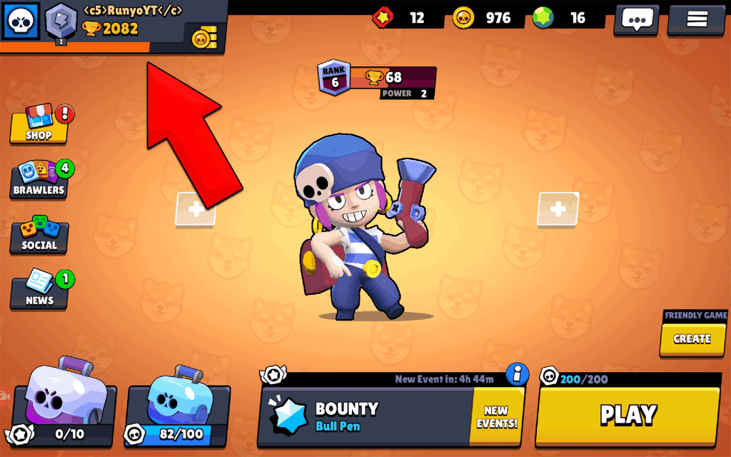 Click on trophy road in Brawl Stars