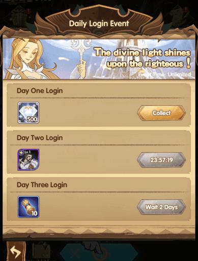 Daily login event diamonds reward AFK Arena