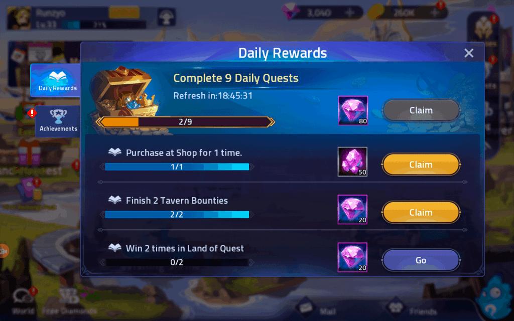 Advance Stone daily quest reward Mobile Legends Adventure