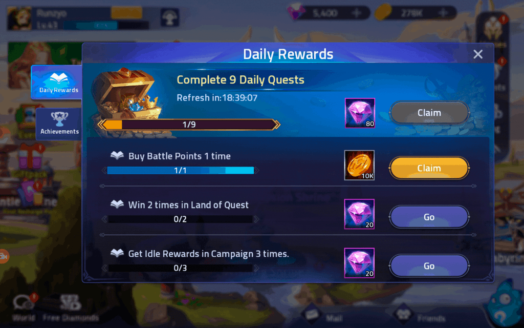 Diamond rewards from daily quests ML Adventure