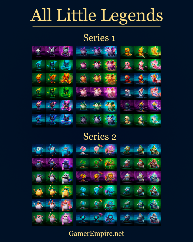 All Little Legends variants and star evolution tiers Teamfight Tactics