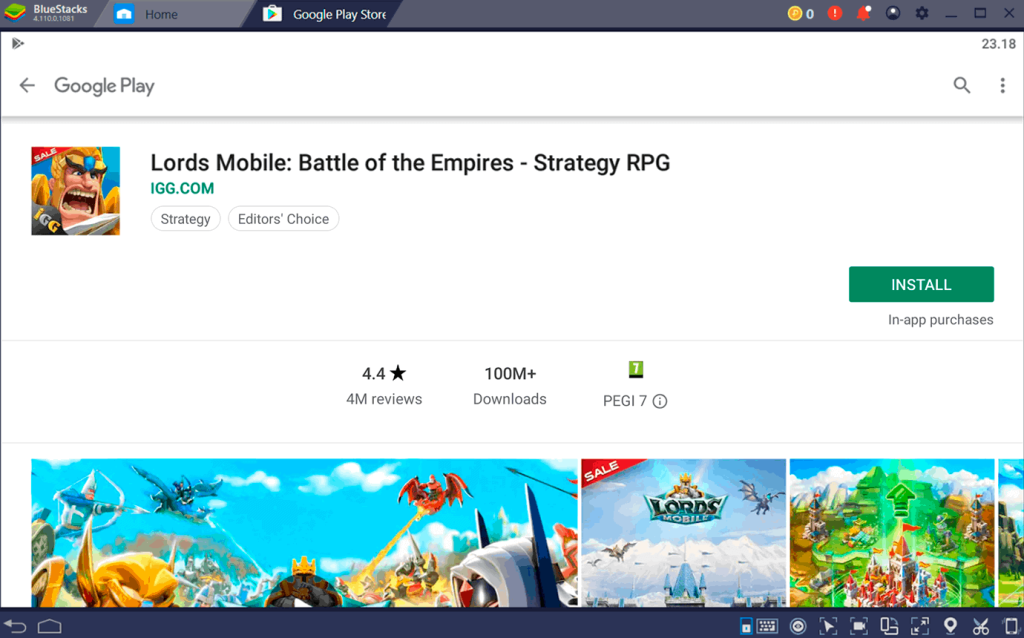 Lords Mobile Google Play page PC