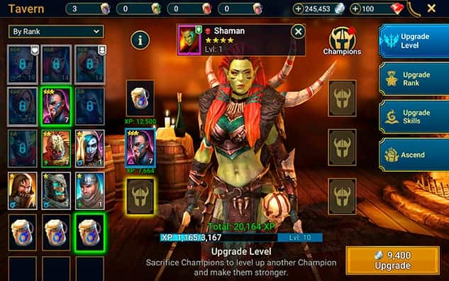 Level up champions in RAID Shadow Legends