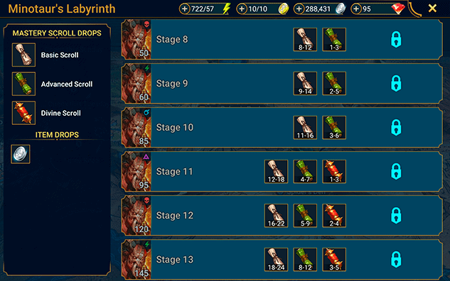 Mastery scrolls from dungeon RAID Shadow Legends