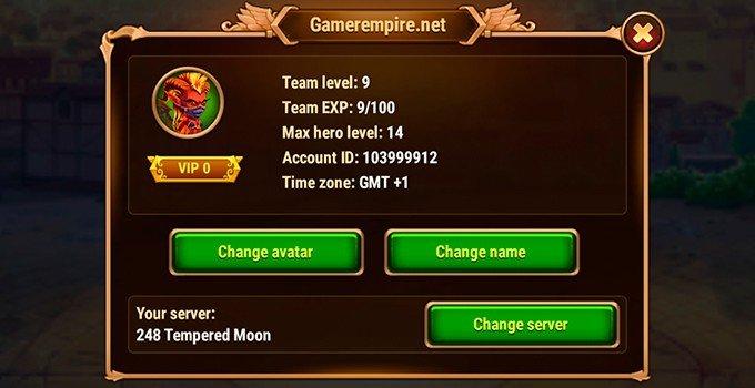 Hero Wars profile settings