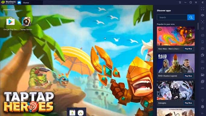 Taptap Heroes icon on Bluestacks homepage