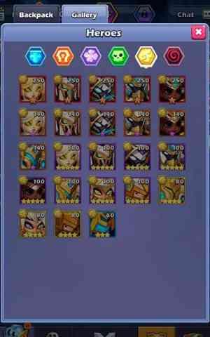 Taptap Heroes gallery of heroes
