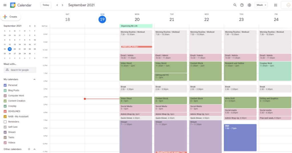 A screenshot of the web-based google calendar with many different colored time blocks to organize the week
