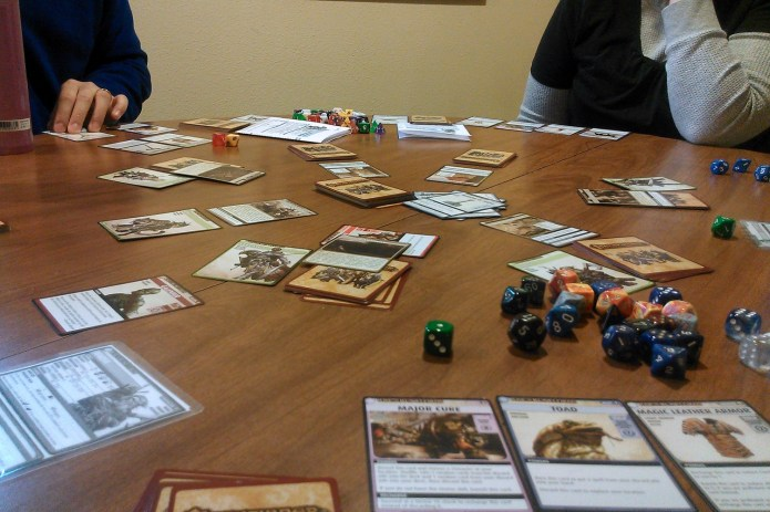 What was played: Pathfinder ACG 4th Adventure pack. Who played it: Normal Monday Group! Why: I think we came to an agreement this week that we like getting together on Mondays so we can avoid being grumpy about Mondays. +1 friends: It's true. I actually look forward to Mondays and gaming with these people.