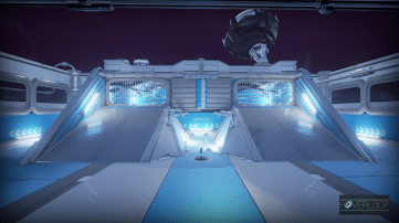 One of the game's futuristic arenas. Hoverloop, developed by Not a Company.