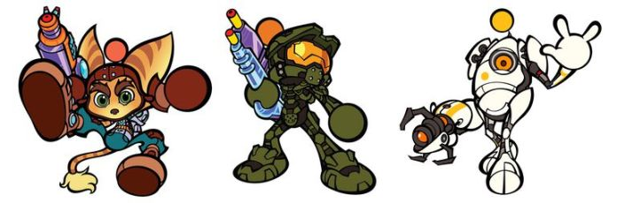 Ratchet, Masterchief e P-Body.
