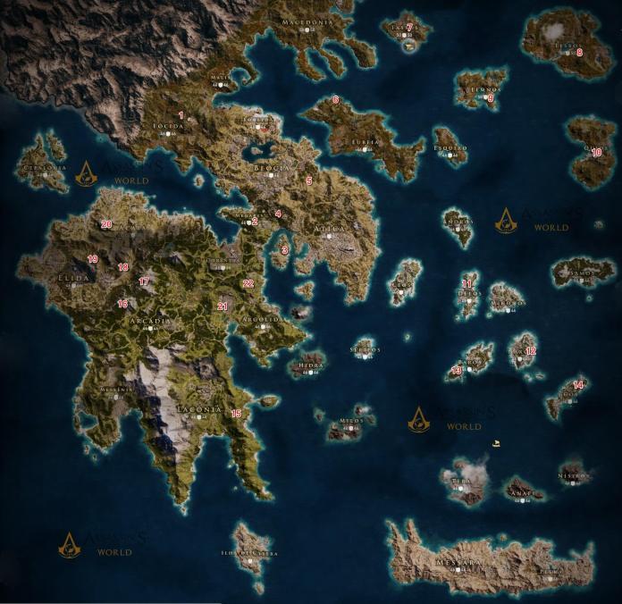 Assassin's Creed Odyssey, Mapas, EStrelas, Tumbas