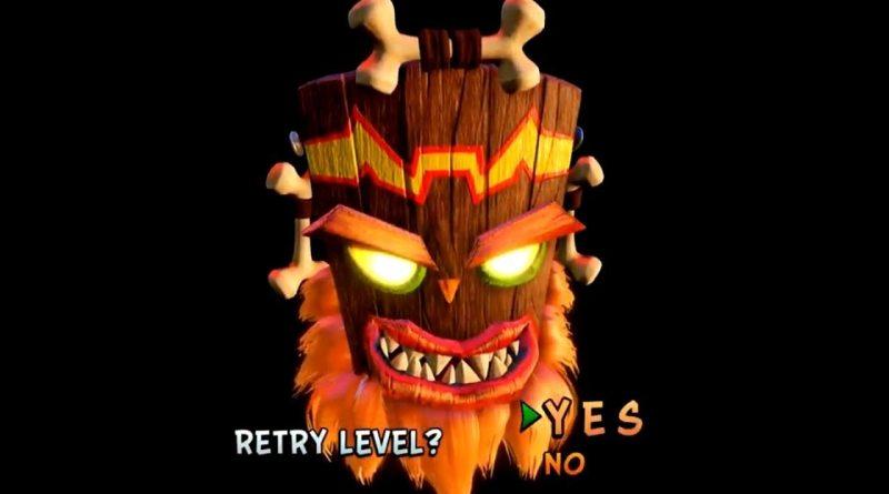 Crash Bandicoot N.Sane Trilogy Game Over Screen