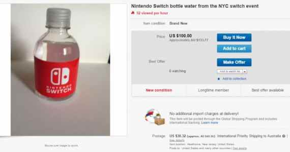 Un gamer vende en eBay botellas de agua de Nintendo Switch GAmersRD