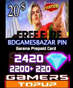 FREE FIRE 20 USD BDGamesBazar pin