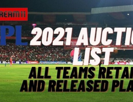 IPL 2021 Auction List All Teams Retained and Released players