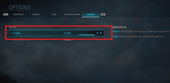 disable crossplay cod mw