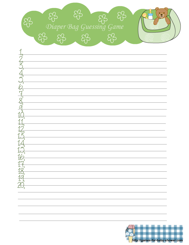 Free Printable Diaper Bag Guessing Game For Baby Shower
