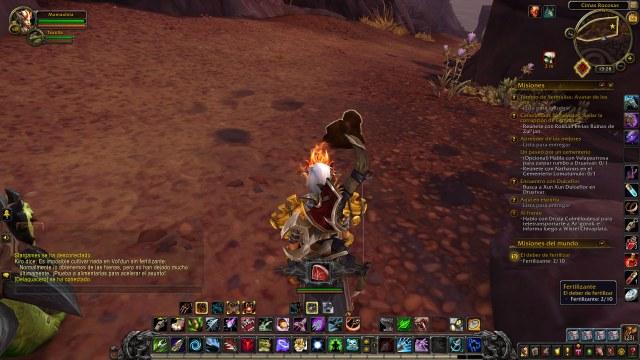 Misión en World of Warcraft recogiendo fertilizante natural. Eco-friendly todo.