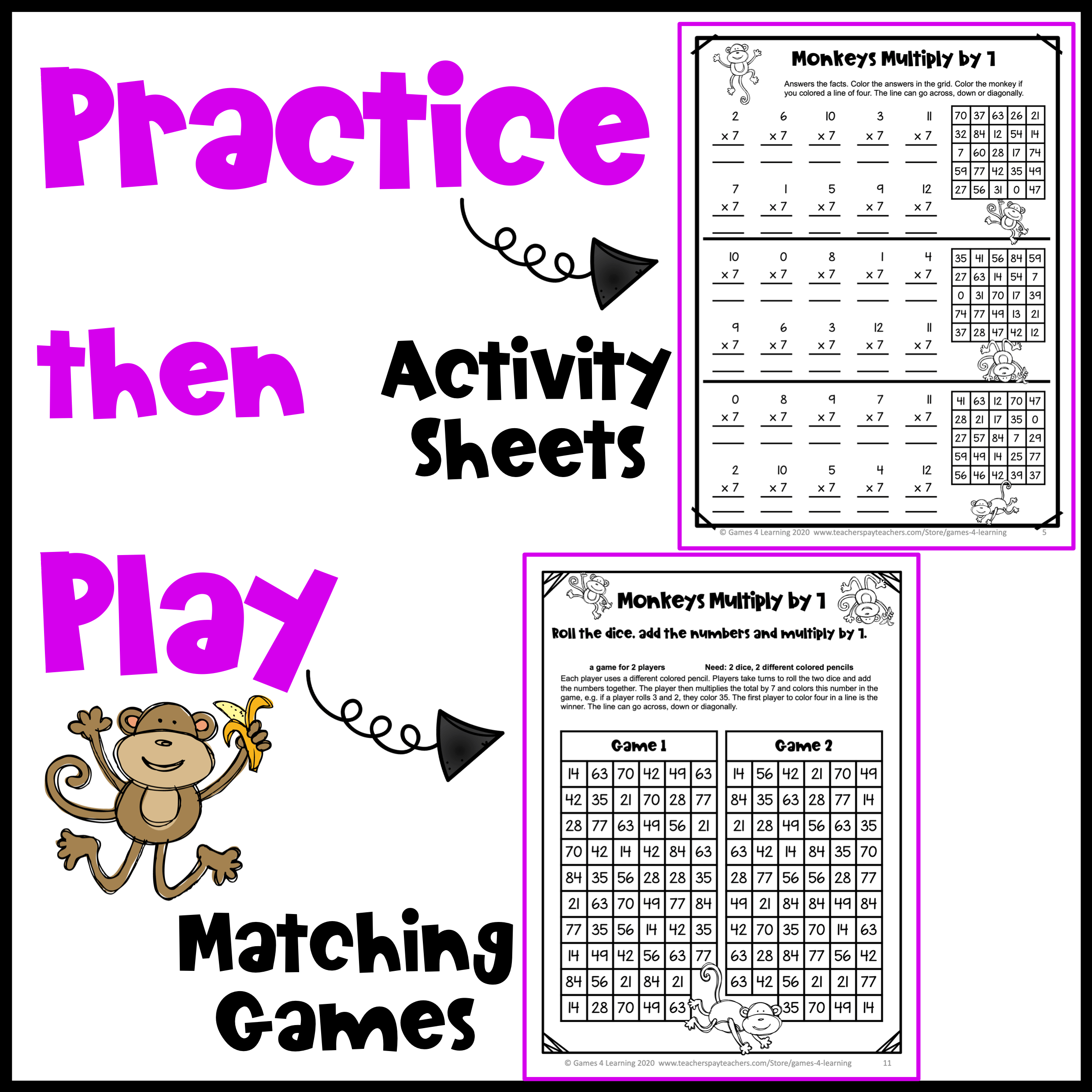 Practice Then Play Multiplication Freebies