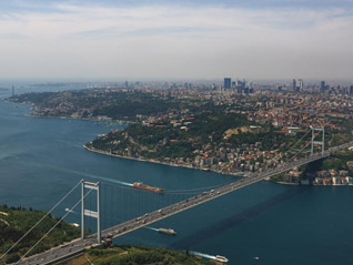The Bosphorus Bridge joins Europe and Asia in Istanbul
