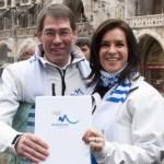 Katarina Witt and Bernhard Schwank on their way to Lausanne with the Bid Book (Munich 2018)