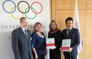 (L to R) Secretary General of National Olympic Committee of the Republic of Kazakhstan, Timur Dossymbetov, Vice Mayor of Almaty City, Mrs. Zauresh Amanzholova, IOC's Head of Bid City Relations Jacqueline Barrett and IOC Games Executive Director Christoph Dubi (Photo: Almaty 2022)