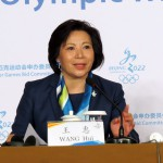 Hui Wang, Beijing 2022 Communications Director speaks at press briefing during IOC Evaluation Commission (GamesBids Photo)
