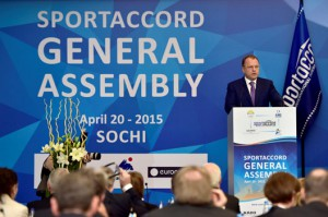 SportAccord Chief Marius Vizer makes opening remarks at SportAccord General Asssembly