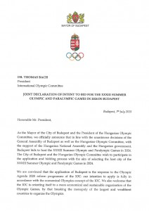 Page 1 of letter from Mayor of Budapest with intention to bid for the 2024 Olympic Games (HOC Photo) - CLICK TO ENLARGE