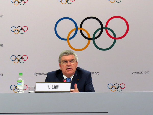 IOC President Thomas Bach speaks at press briefing in Kuala Lumpur, Malaysa August 3, 2015 (GamesBids Photo)