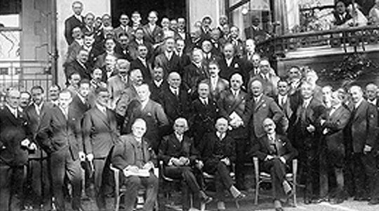 Delegates at the 1921 IOC Congress in Lausanne, Switzerland where Paris was elected host of the 1924 Games