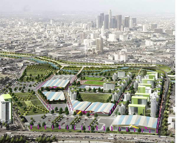 Concept drawing of proposed LA 2024 Athletes' Village (Source: LA 24)