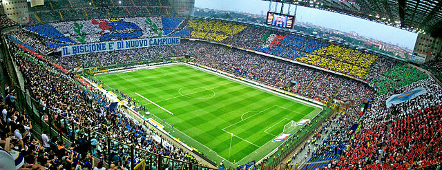 """The Stadio Giuseppe Meazza in Milan, also known as """"San Siro"""" could host Olympic football if Rome wins 2024 Olympic bid (Wikipedia Photo)"""