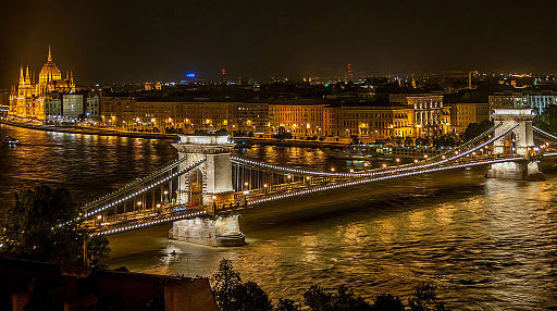 Bridge crossing Danube River in Budapest, Hungary (Wikipedia Photo)