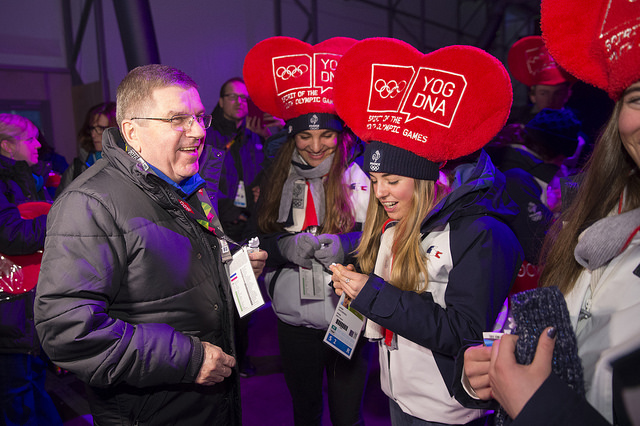 IOC President Thomas Bach enjoys Winter Youth Olympic Games in Lillehammer, Norway (IOC Photo)