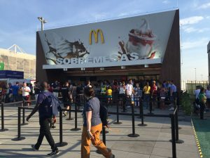 McDonalds in the Olympic Park - but don't expect to get a Big Mac - only ice cream and water served here (GamesBids Photo)