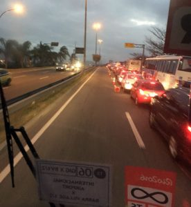 From inside Rio 2016 media bus as it easily cruised along the Olympic lane, much to the chagrin of other gridlocked vehicles (GamesBids Photo)