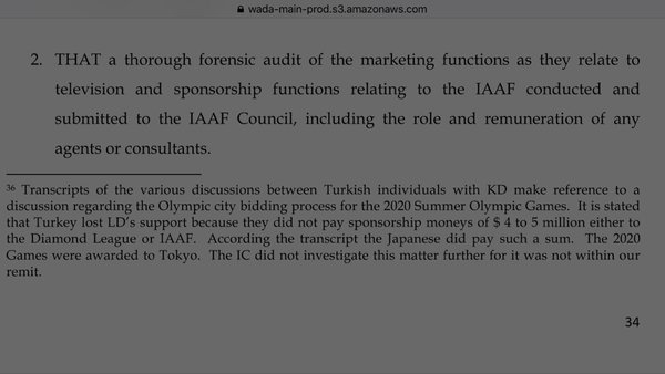 WADA Report on alleged IAAF doping cover-up hints at Tokyo 2020 corruption in January 2016
