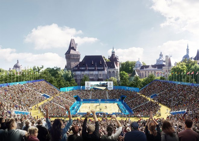 Beach Volleyball for the Budapest 2024 Olympic Games would be situated outside the Vajdahunyad Castle building (Budapest 2024 rendering)
