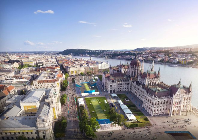 The proposed temporary venue for archery finals at Kossuth Square, outside the city's much-photographed Parliament building (Budapest 2024 Image)