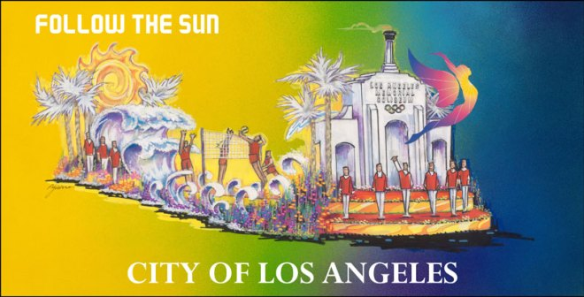 """Depiction of """"Follow the Sun"""" float set to feature Olympians and La 2024 representatives at 2017 Rose Parade."""